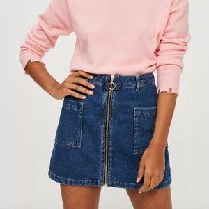 TopShop Patch Pocket A-Line Denim Skirt